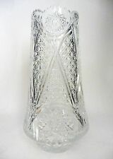 Vintage Lead Crystal Vase Cut Glass Artist Signed