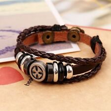 Fashion Unisex Punk Brown Genuine Leather Bracelet Hand-rope Strap Band Cuff New