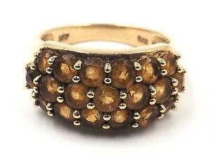 Citrine & 9ct Yellow Gold Dress Ring Womens Beautiful Fine Jewellery Band Size N