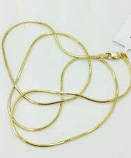 """14k Solid Yellow Gold High Polish Snake Necklace Chain 16"""" 1.0mm"""