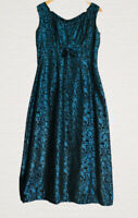 Vintage Evening Dress Handmade Metallic Blue Paisley Print Empire Line Size 14