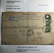 1921 London England Registered Letter Stationary Cover To New York Usa
