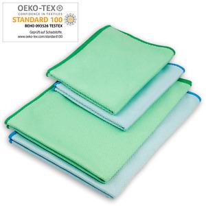 ELEXACLEAN Mikrofaser Fenstertuch streifenfrei (4 Stück, 60x40 cm & 40x30 cm)