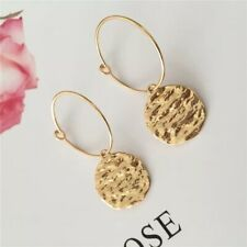 Gold Plated Hammered Disc Circle Drop Dangle Minimalist Hook Earrings E33