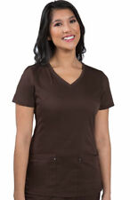 "Healing Hands #2245 V-Neck Scrub Top in ""Espresso"", Size XL"