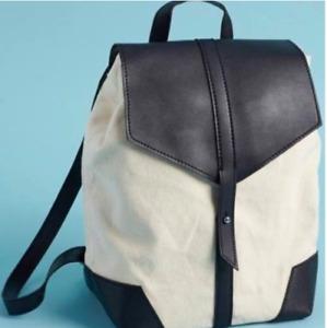 Canvas Backpack  Bag Spring Fabfitfun box Cream Black Deux Lux Demi Medium