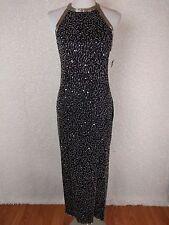 Laurence Kazar Womens Gown PL Black Beaded Sequin Silk Full Length Dress Vintage