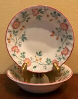 """CHURCHILL Briar Rose Cereal Bowl(s) 6 1/4"""" Set of 2 Pink Floral England EUC"""