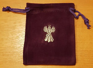 Purple Velvet Rune Bag With Embroderied Angel Wings Design -  (B115)