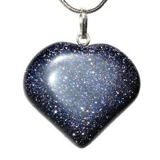 CHARGED Midnight Blue Goldstone Crystal Heart Pendant + Selenite Heart & Chain