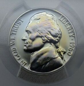 1960 Proof Nickel 5 Cent PCGS PR66 Stunning Rainbow Toning !!!!