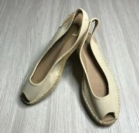 As New Windsor Smith Ratan & Leather Wedges Shoes Size 10 Peep Toe Shoes Fashion