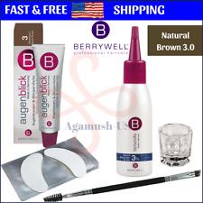 Berrywell 5-PCS Kit: NATURAL BROWN Color 3.0 Eyebrow Eyelash Tint Combo Hair Dye