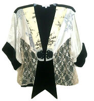 Spencer Alexis Size Large Lace Velvet Floral Asian Inspired Kimono Jacket Top L