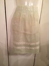 New listing Very Cute Pre-loved Vintage 1940's Light Green Organza Apron w Embroidery Trim