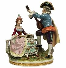 "10"" SITZENDORF Dresden Lace German Porcelain Figurine SERENADE COURTING COUPLE"