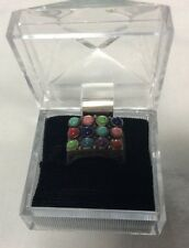 Rare vintage sterling silver unisex ring,gumbal style stones, J497