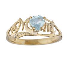 14Kt Yellow Gold Plated Genuine Aquamarine & Diamond Heart Mom Ring