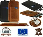 SLIM PULL-UP STRIP CASE WITH CARD POCKET GENUINE LEATHER SLEEVE POUCH FOR PHONES