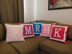 PERSONALISED CUSHION COVER - MONOGRAM INITIAL - VARIOUS COLOURS AVAILABLE -