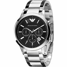 NEW EMPORIO ARMANI AR2434 MENS STEEL CHRONOGRAPH WATCH - 2 YEARS WARRANTY