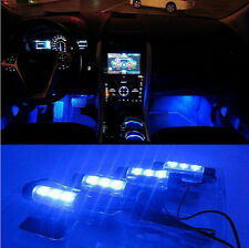 4x 3LED Blue Car Charge Interior Accessories Foot Car Decorative 4in1Car Light