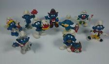 Vintage Smurfs figurines 1978 1979 1980 1981 Lot of 9 figures Peyo Rare