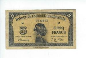 FRENCH WEST AFRICA   5 FRANCS  1942   FINE   SEE SCAN