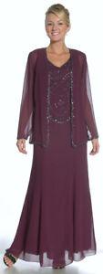 Mother of Bride Dress Formal Gown Long Sleeve Chiffon Jacket V-Neck Black XL, 10