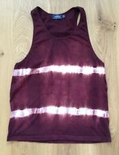 Topman Vest Top Wine With White Tie Dye Stripes Racer Back Sleeveless Size Small