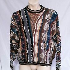 Tundra Canada Sweater Mercerized Cotton 3d Textured Bright Loud VTG Mens Large