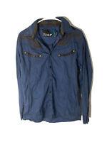 Roar Mens Medium Blue Signature Button Front Shirt Embroidered