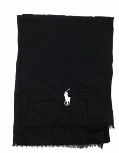 $258 Polo Ralph Lauren Men's Black White Cotton Lightweight Pony Logo Scarf O/S