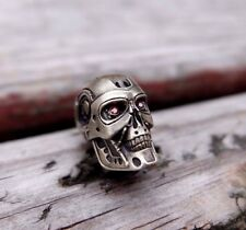 skull bead BIG Terminator with cubic zirkonia. for knives or keychain. paracord.