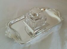 Edwardian silver / cut glass ink well & stand. London 1906. By Josiah Williams