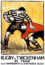 Rugby a Twickenham - 1920s-TRAM VIAGGI VACANZE FERIE A3 Stampa Artistica Poster