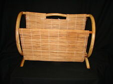 Retro Vintage mid century Bamboo Rattan Magazine Rack