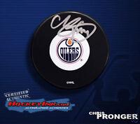 CHRIS PRONGER Signed Edmonton Oilers Puck