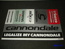 1 AUTHENTIC LEGALIZE MY CANNONDALE STICKER SHEET / DECAL / AUFKLEBER ****