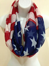 Women Men Patriotic Fashion USA American Flag Style Circle Loops Infinity Scarf