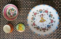 Tea Set Enamel Metal Dishes Miniature Plates Lot of (4) Vintage Austria