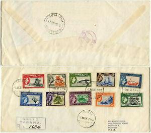 GILBERT + ELLICE ISLANDS 1956 FDC 1/2d to 2/6 TARAWA REGISTERED 10 vals.VIA FIJI