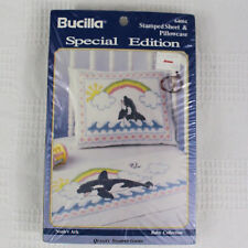 Bucilla Noah's Ark Baby Stamped Sheet and Pillow Case Cross Stitch Whale 64004