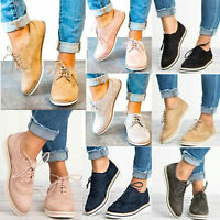 Womens Flat Sneakers Casual Trainers Ladies Lace Up Flats Loafers Shoes Fashion