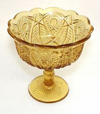 Kemple MARTEC Amber Glass Pressed Glass Footed Pedestal Compote