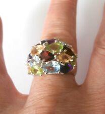 Multi Gemstone 925 Dome Silver Ring Size O