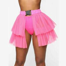Womens Tutu Skirt Mesh Tulle High Low Bustle Skirt Dancing Petticoat Skirt NEWLY