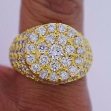 New Mens White Diamond Solitaire Ring Pinky Ring 5.35 Carat 10k Gold Video DEAL!