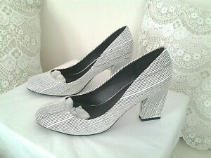 "NEXT: Ladies Black & White Striped Court Shoes Size 4.5 Heel Height 3"" Worn Once"