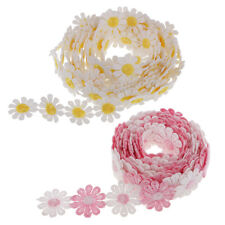 6Yds Flower Embroidered Lace Edge Trim Ribbon Wedding Applique Sewing Crafts